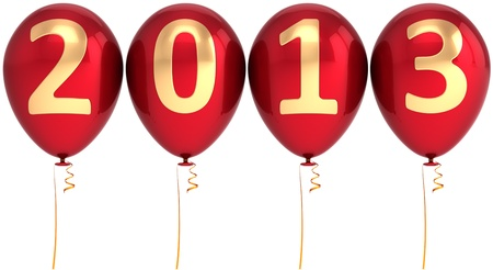 New 2013 Year balloons party decoration. Red helium balloon with gold numbers. Calendar date. Detailed 3d render photo