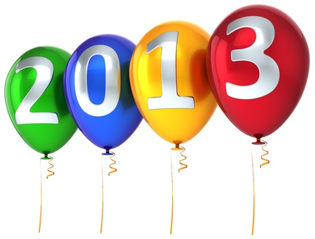New Year 2013 balloons party celebrate decoration  New Year s Eve calendar date beautiful greeting card  Detailed 3d render photo