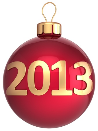 new year s eve: Christmas ball 2013 New Year bauble lucky calendar date countdown  New Year s Eve decoration classic  Merry Xmas greeting card