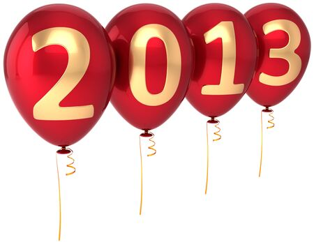 Party balloons New Year 2013 Christmas occasion decoration  Red balloon decorated with gold text  Future begin calendar date countdown  Detailed 3d render photo