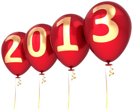New Year 2013 helium balloons holiday party decoration  Red balloon with gold text  Future calendar date  Detailed 3d render Stock Photo - 16257195