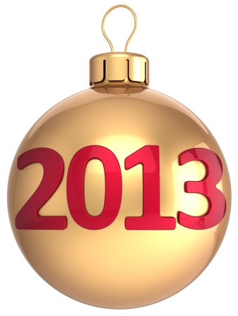 Gold Christmas ball New 2013 Year bauble lucky calendar date of future  New Year s Eve winter decoration classic  Merry Xmas time greeting card  Detailed 3d render Stock Photo - 16257196