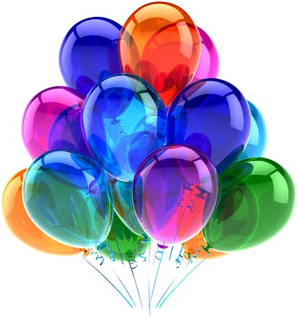 Balloons party happy birthday decoration colorful translucent  Joy fun positive emotion abstract  Holiday anniversary retirement celebration concept  Detailed 3d render photo