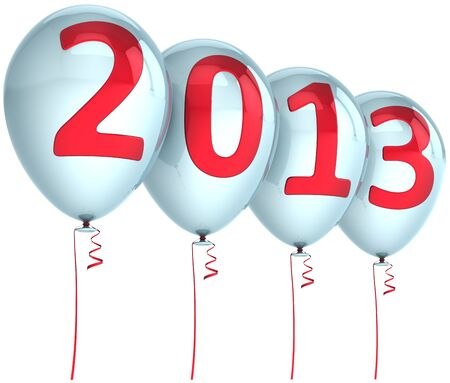 New Year 2013 balloons holiday party decoration  White helium balloon with red text  Future calendar date Stock Photo - 16407124