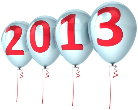 New Year 2013 party balloons holiday decoration  White helium balloon with red number  Future calendar date Stock Photo - 16407101
