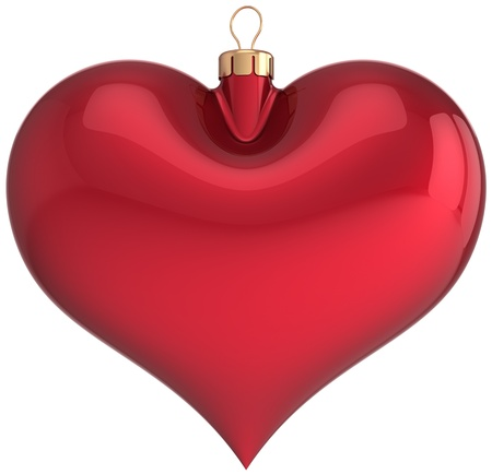 Red Christmas ball heart shaped blank decoration Happy New Year love bauble  Merry Xmas greeting card  Traditional winter holidays icon concept  Detailed 3d render