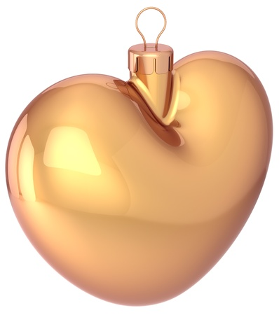 Gold Christmas heart shaped ball Happy New Year bauble gold blank decoration  Merry Xmas greeting card  Romantic love winter holidays icon concept  Detailed 3d render photo