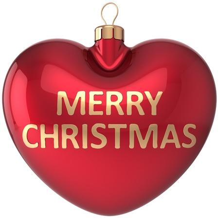 Coeur de Noël boule rouge décoration J'aime Joyeux Noël babiole New Years Eve conception salutation élément de carte d'hiver hiver vacances icône Concept détaillé rendu 3d Banque d'images - 16412576