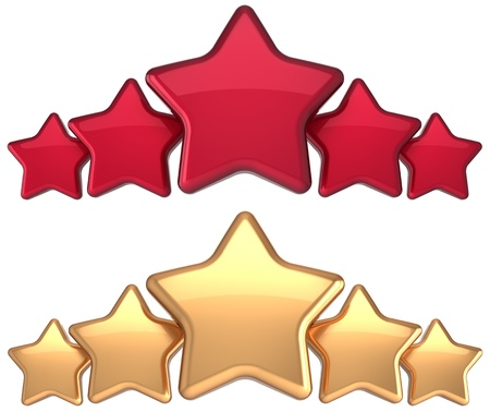 the place is important: Five star service gold red golden award success decoration abstract  Best top excellent quality business rating trophy icon concept  Detailed 3d rendering