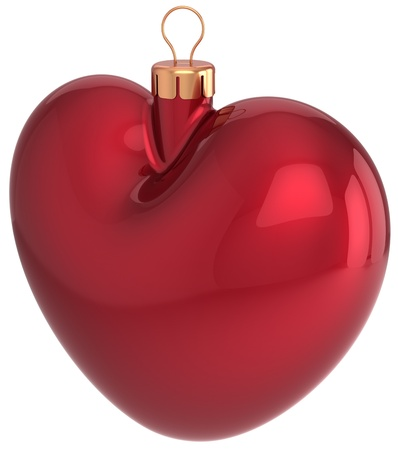 Christmas ball heart shaped red decoration New Year Love bauble  Merry Xmas greeting card design element  Traditional winter holidays icon concept  Detailed 3d render Stock Photo - 16412579