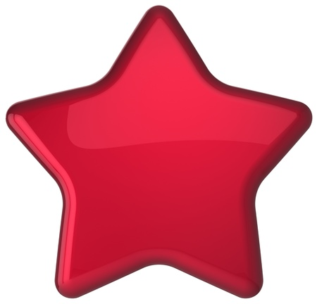 prestige: Red star shape award decoration blank  Prestige congratulation win very important leadership quality excellent service favorite best icon concept  Detailed 3d rendering