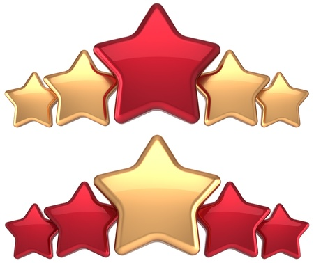 Five stars service gold red golden leadership award success decoration  Best competition top excellent quality business rating trophy icon concept  Detailed 3d rendering Stock Photo - 16589747