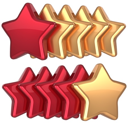 Five star service gold red golden leadership award success decoration  Best competition top excellent quality business rating favorite icon concept  Detailed 3d rendering Stock Photo - 16657845