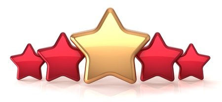 the place is important: Gold star leadership inside red stars award success decoration. Best competition top excellent quality business service rating trophy icon concept