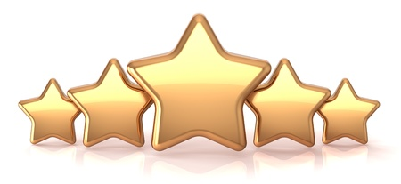 the rate: Gold stars five golden star service award business success decoration abstract. Best top quality rating excellent favorite favorite winner concept Stock Photo