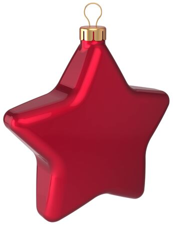 Christmas ball star shaped decoration red Happy New Year bauble blank Stock Photo - 16713089