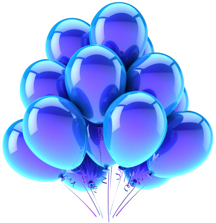 Balloons party happy birthday blue cyan decoration  Joy fun happiness abstract  Holiday anniversary retirement celebration greeting card concept Standard-Bild