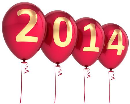 New 2014 Year balloons party decoration  Wintertime celebration banner balloon  Countdown future beginning calendar date greeting card design element Standard-Bild