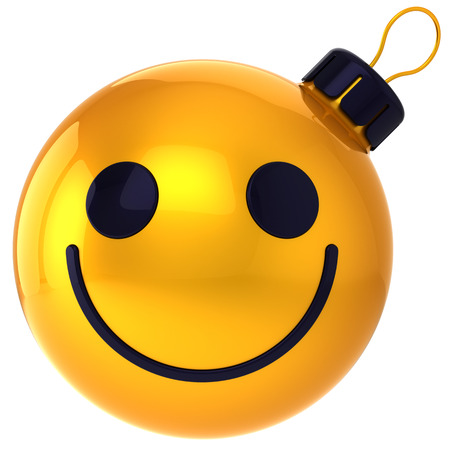 Christmas ball smiley face gold Happy New Year bauble smile face avatar decoration happiness funny friendly icon  Merry Xmas positive holiday symbol photo
