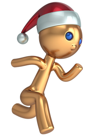 Running man stylized Santa character gold quickly runner person fast speed endurance  New Year beginning concept  Christmas wintertime marathon Xmas racer icon photo