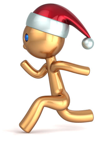 Running man character gold stylized quickly runner person fast speed endurance  New Year beginning concept  Christmas Santa wintertime marathon Xmas racer icon photo