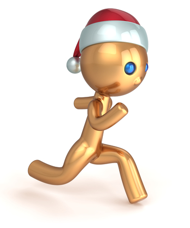 gold rush: Running man gold stylized character quickly runner person fast speed endurance  New Year beginning concept  Christmas Santa wintertime marathon Xmas racer icon Stock Photo