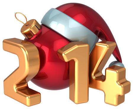 New Year 2014 Santa hat Christmas ball decoration Merry Xmas wintertime happy holidays stylized souvenir  Calendar greeting card design element