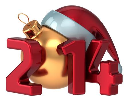 Happy New Year 2014 Santa hat Merry Christmas Xmas ball decoration wintertime holidays stylized souvenir  Calendar greeting card design element photo