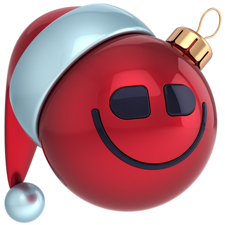 Christmas ball smile face Happy New Year bauble Santa hat smiley icon decoration  Wintertime emoticon  Merry Xmas holiday joyful funny character toy concept