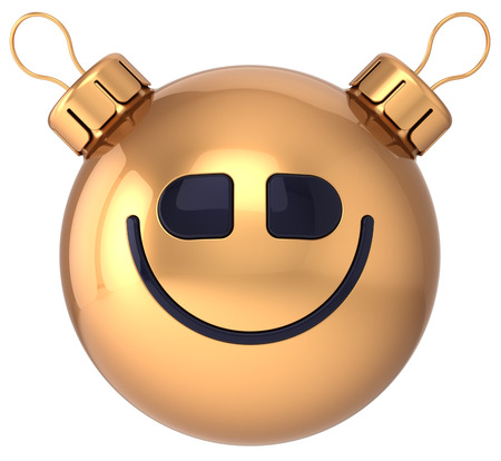 Smiley face New Year bauble Christmas ball happy smile icon decoration gold  Wintertime holidays emoticon  Merry Xmas celebration positive cheerful character photo