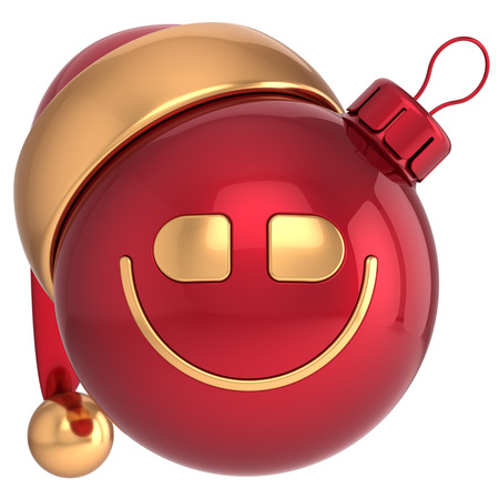 Smiling Christmas ball Happy New Year smile bauble Santa hat smiley face icon decoration red gold  Wintertime emoticon  Merry Xmas cartoon character toy concept photo