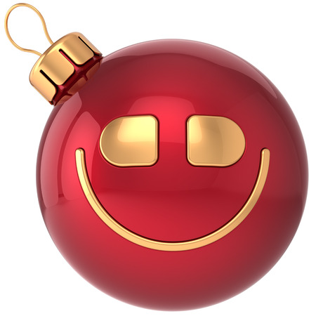 Smiling Christmas ball smiley New Year bauble smile face decoration icon  Wintertime celebration emoticon  Merry Xmas positive cartoon happy character concept photo
