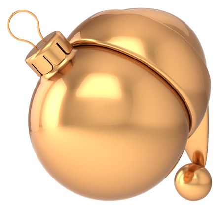 Christmas ball Happy New Year bauble gold decoration Santa hat icon blank  Traditional golden wintertime holidays Merry Xmas sign symbol souvenir concept photo