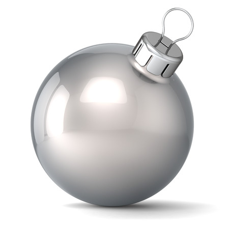 Christmas ball New Years Eve bauble decoration silver chrome wintertime ornament icon traditional  Shiny Merry Xmas winter holidays symbol classic blank Standard-Bild
