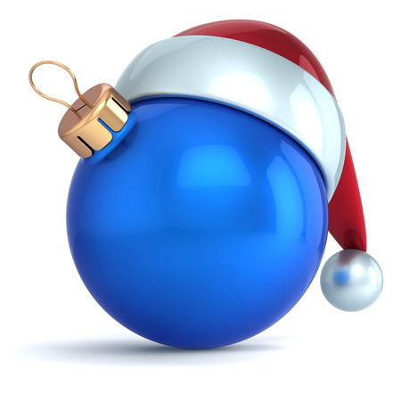 Christmas ball ornament New Year bauble decoration blue Santa hat icon happy emoticon  Seasonal wintertime Merry Xmas traditional symbol souvenir blank photo