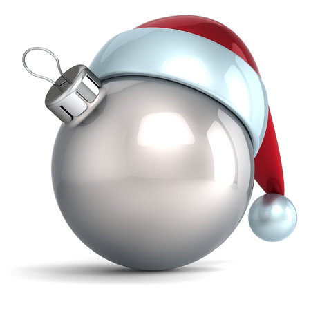 Christmas ball ornament New Year bauble decoration silver Santa hat icon happy emoticon  Seasonal wintertime Merry Xmas traditional symbol souvenir blank Stock Photo