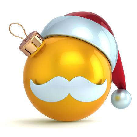 gold  yellow: Christmas ball ornament Santa Claus hat New Year bauble gold yellow decoration happy emoticon avatar icon  Seasonal wintertime Merry Xmas mustache toy souvenir Stock Photo