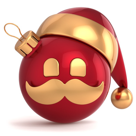 Christmas ball avatar Santa Claus hat ornament New Year bauble red gold decoration happy emoticon icon  Seasonal wintertime Merry Xmas mustache toy souvenir