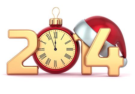 start: Frohes Neues Jahr 2014 Wecker Weihnachtsm�tze Weihnachtskugel Dekoration Urlaub Ornament stilisierten Souvenir Traditionelle Winterzeit Mitternacht Zukunft beginnen Countdown