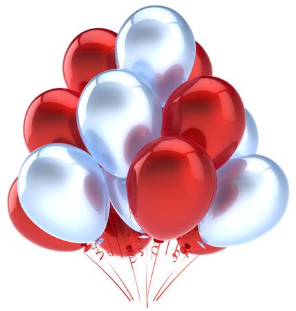 Balloons birthday party decoration red silver balloon  Holiday anniversary retirement celebration icon  Happy joy fun positive good emotion greeting card Standard-Bild