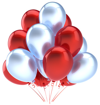 Balloons birthday party decoration red silver balloon  Holiday anniversary retirement celebration icon  Happy joy fun positive good emotion greeting card Banque d'images
