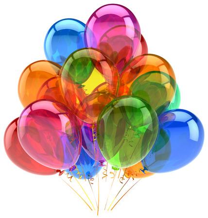 Decoración con globos de cumpleaños globos de fiesta de colores translúcidos alegría feliz divertido positiva buena emoción concepto de vacaciones aniversario celebración del retiro icono