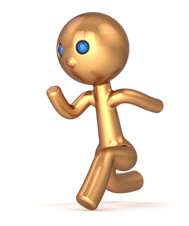 Running man pursuit character number one runner person fast start speed endurance  Winner first place chase concept  Stylized gold marathon quickly racer icon photo