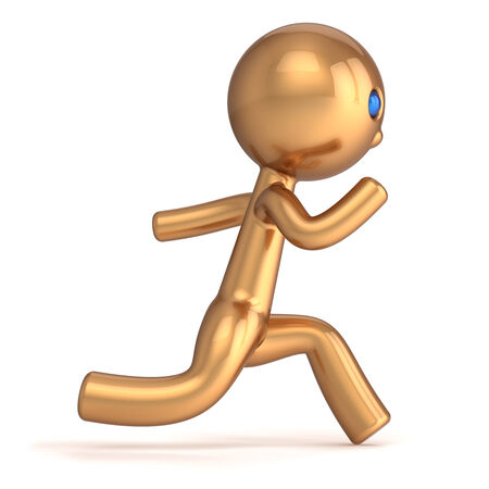 quickly: Running man pursuit character runner person fast start speed endurance  Champion Winner first place number one chase concept  Stylized gold marathon quickly racer icon Stock Photo