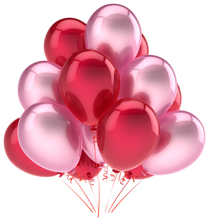 Party balloons birthday decoration pink red love helium balloon  Happy holiday anniversary graduation retirement celebration  Friendly emotion greeting card Stock Photo