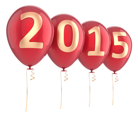 New 2015 Year balloons party decoration red. Wintertime celebration banner balloon. Countdown future beginning calendar date greeting card design element. 3d render isolated on white background photo