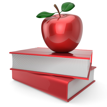erudition: Back to school book and apple education health books reading textbook concept. 3d render isolated on white