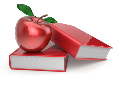 erudition: Books and apple red education health reading textbook learning examination erudition teaching concept. 3d render isolated on white Stock Photo