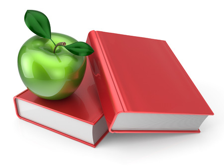 health education: Books with green apple education health reading textbook learning examination concept. 3d render isolated on white
