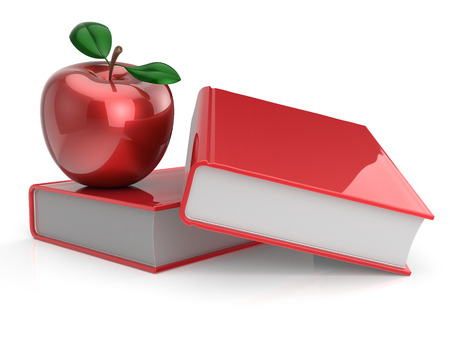 erudition: Books and apple red education health reading textbook learning examination erudition teaching back to school concept. 3d render isolated on white Stock Photo